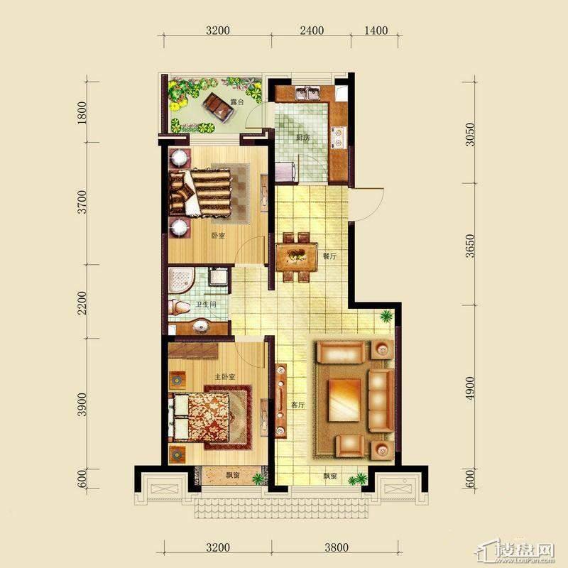 亿甲尚府高层奇数层东西户型图2室2厅1卫1厨
