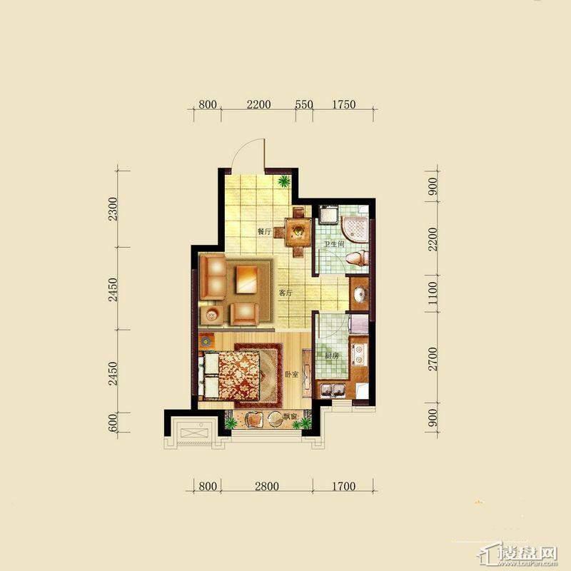 亿甲尚府高层奇数层东中户型图1室2厅1卫1厨