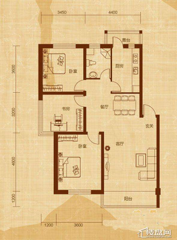 亿甲尚府户型D-名世3室2厅1卫