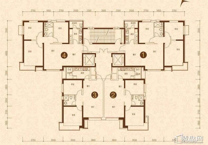 沈阳恒大名都9#10#(2-33)平层图5室2厅4卫