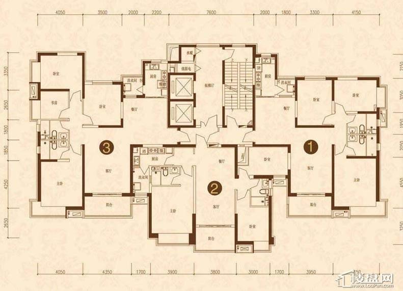 沈阳恒大名都15#(3-33)平层图3室2厅1卫