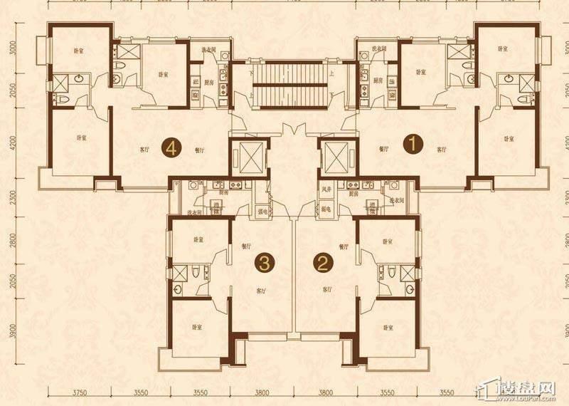 沈阳恒大名都1#(2-33)平层图3室2厅2卫