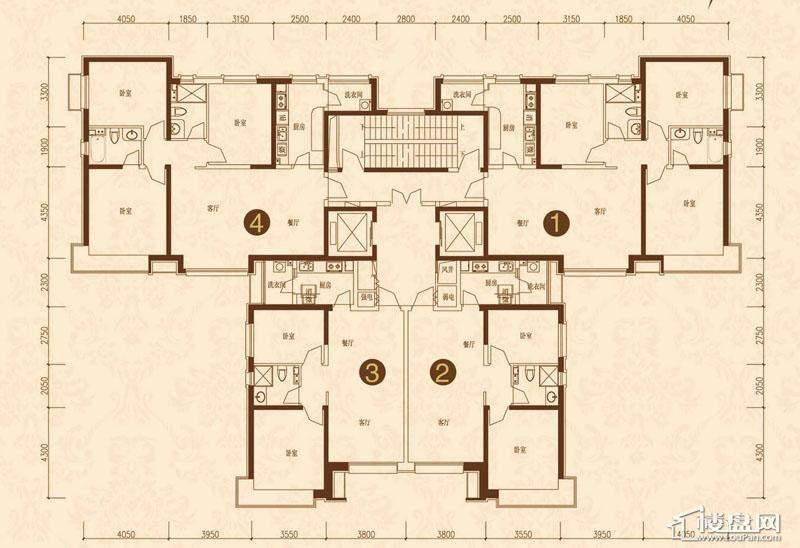 沈阳恒大名都7#12#(2-33)平层图3室2厅2卫