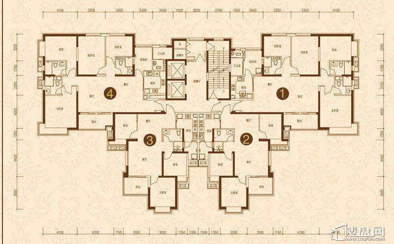 沈阳恒大名都8#(2-33)平层图3室2厅2卫