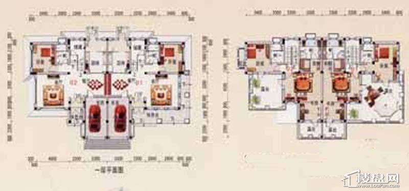 沈阳碧桂园C户型1、2层平面图3室2厅2卫1厨