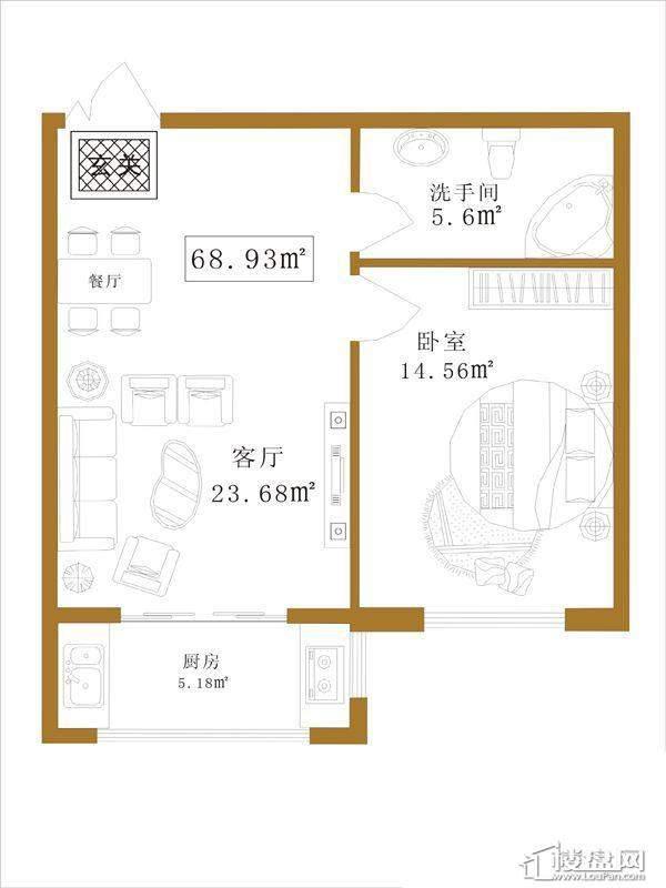 大江广厦户型A1室1厅1卫1厨