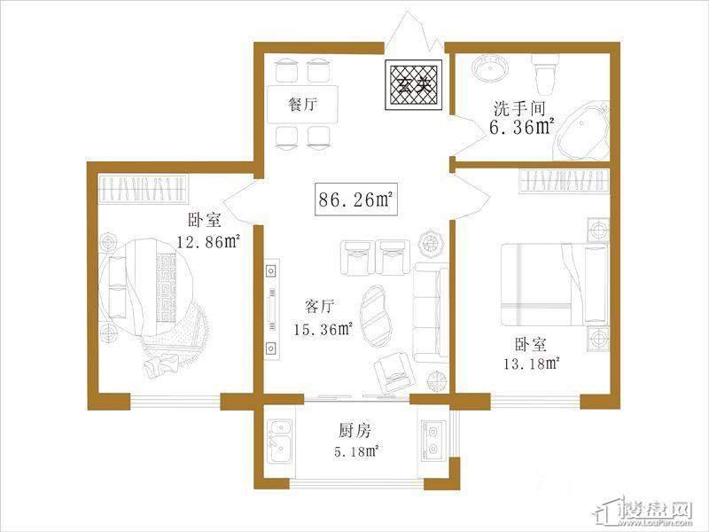 大江广厦户型B2室1厅1卫1厨