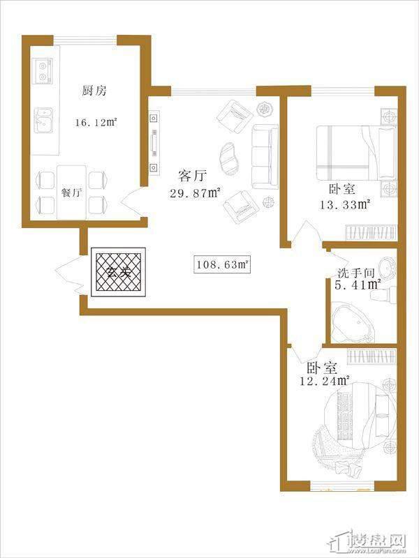 大江广厦户型D3室1厅1卫1厨