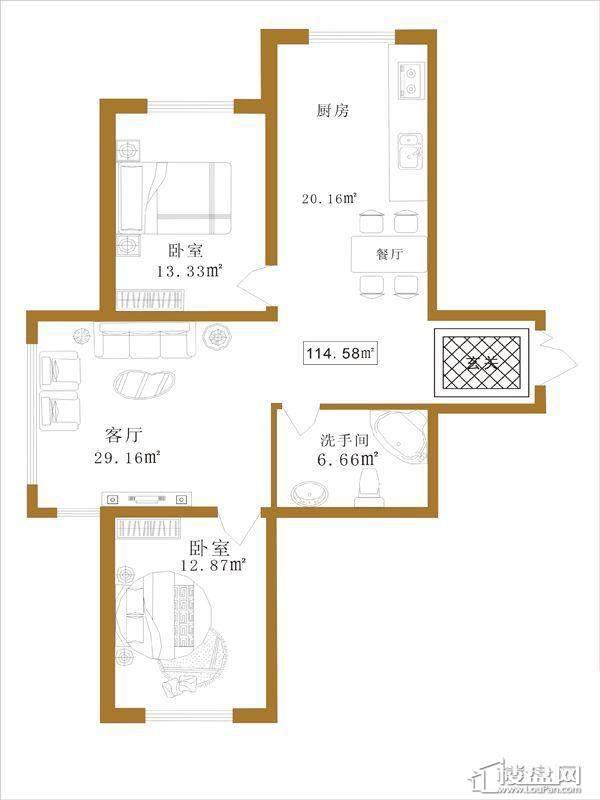 大江广厦户型E2室1厅1卫1厨