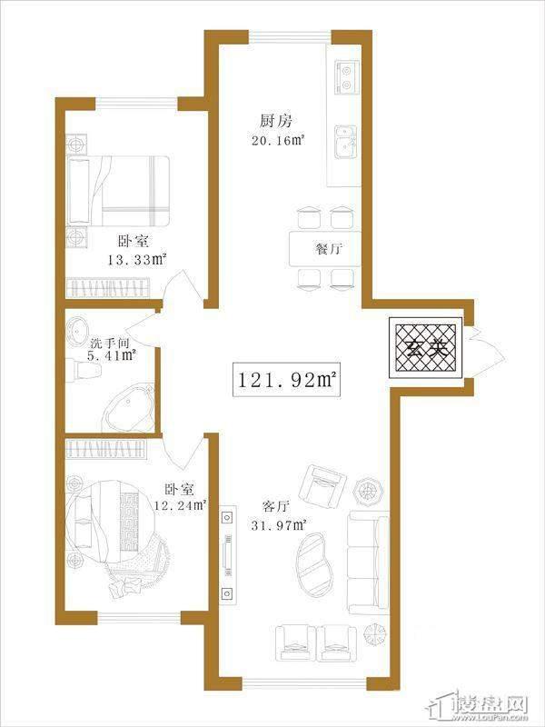 大江广厦户型F2室1厅1卫1厨
