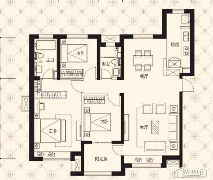 中海寰宇天下F户型3室2厅2卫