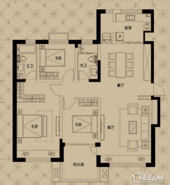中海寰宇天下G2户型3室2厅2卫