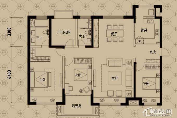 中海寰宇天下H户型3室2厅2卫