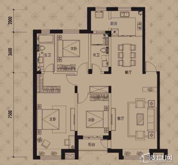 中海寰宇天下G1户型3室2厅2卫