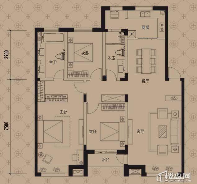 中海寰宇天下L3户型3室2厅2卫