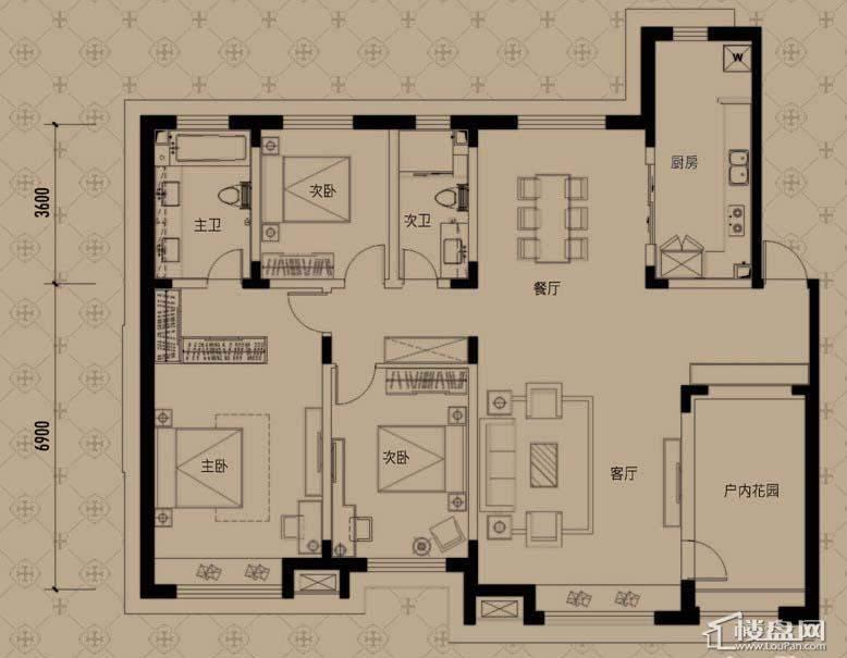 中海寰宇天下T户型3室2厅2卫
