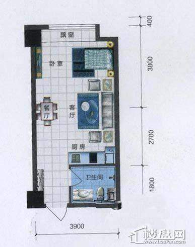 中海寰宇天下公寓户型图A1室2厅1卫