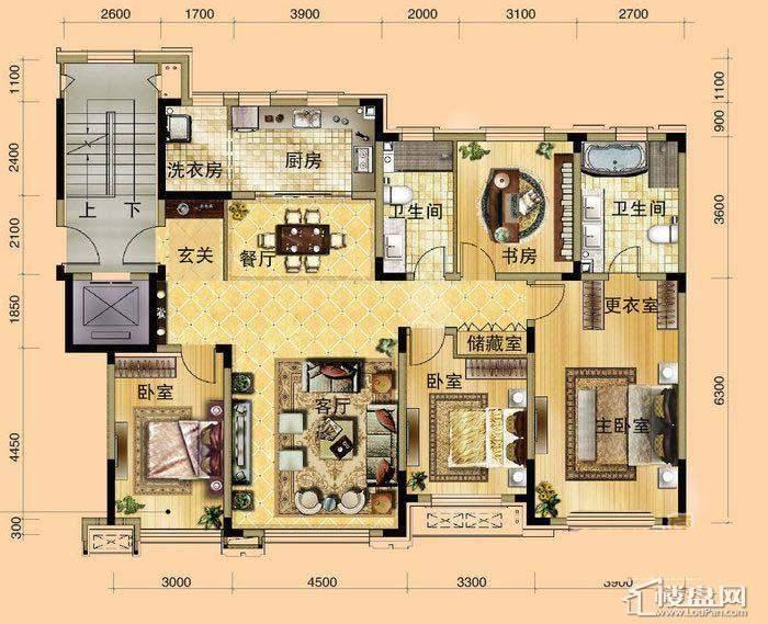 中海寰宇天下洋房标准层B户型4室2厅2卫