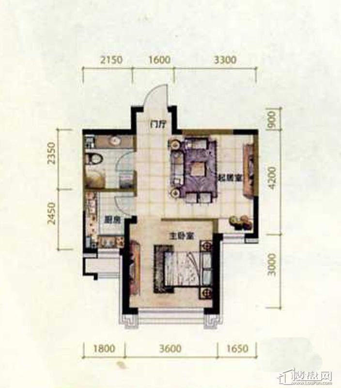 泰盈十里锦城户型图1室1厅1卫1厨
