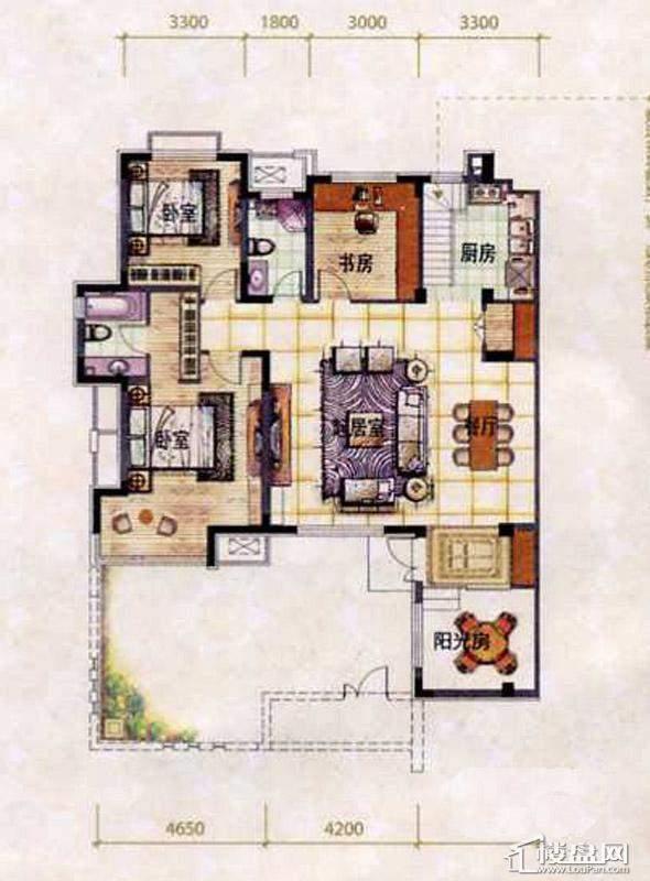 泰盈十里锦城A1-1户型图4室2厅2卫1厨