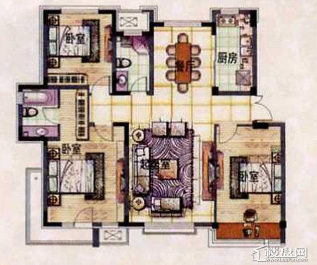 泰盈十里锦城A1-4户型图3室2厅2卫1厨