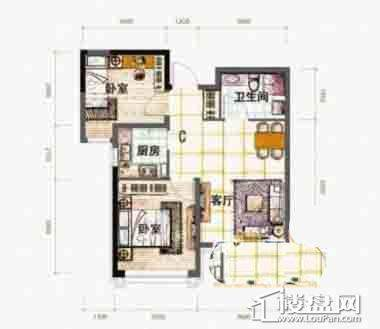 泰盈十里锦城C户型图2室2厅1卫1厨
