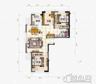 泰盈十里锦城D户型图3室2厅1卫1厨