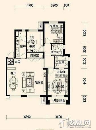 唐轩·公馆洋房户型折页-D1-4-013室2厅2卫