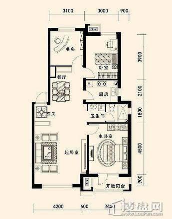 唐轩·公馆洋房户型折页-D2-3-013室2厅1卫