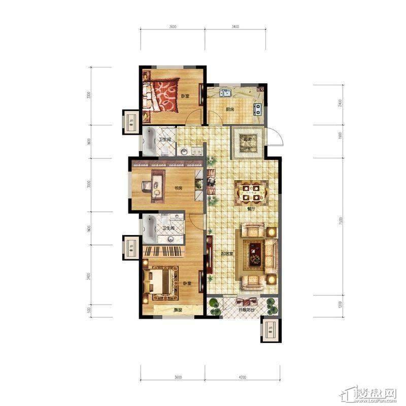 金地檀溪A1户型3室2厅2卫1厨