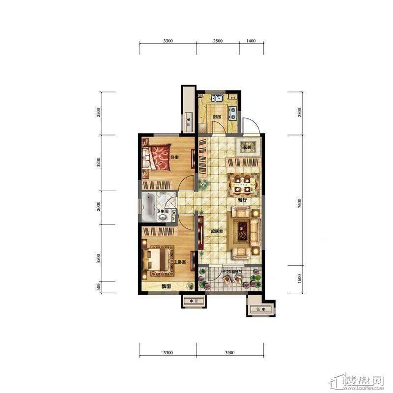 金地檀溪高层1#-C1户型2室2厅1卫1厨