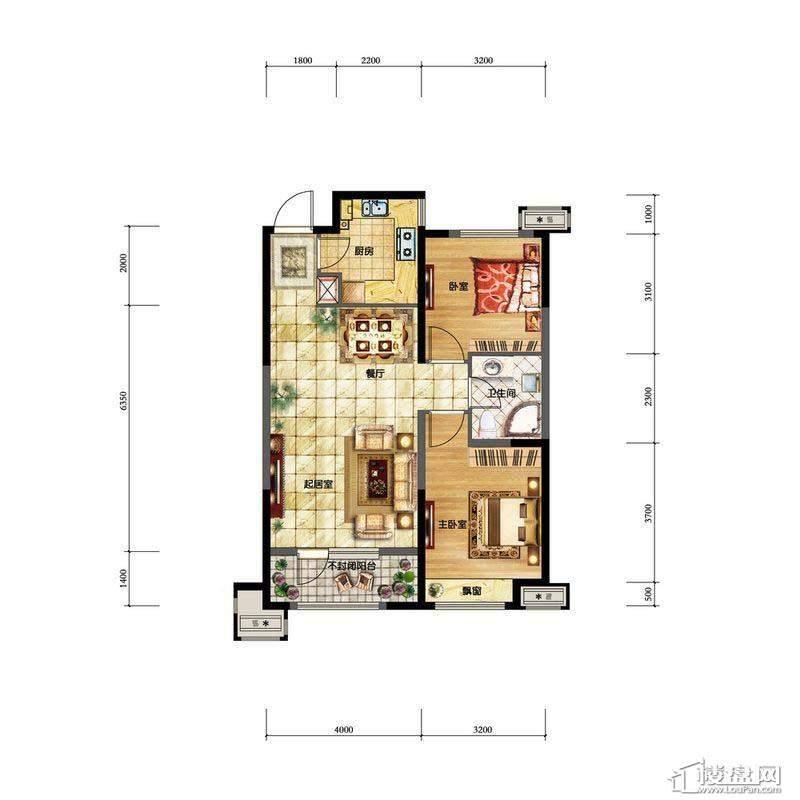 金地檀溪高层1#-C2户型2室2厅1卫1厨