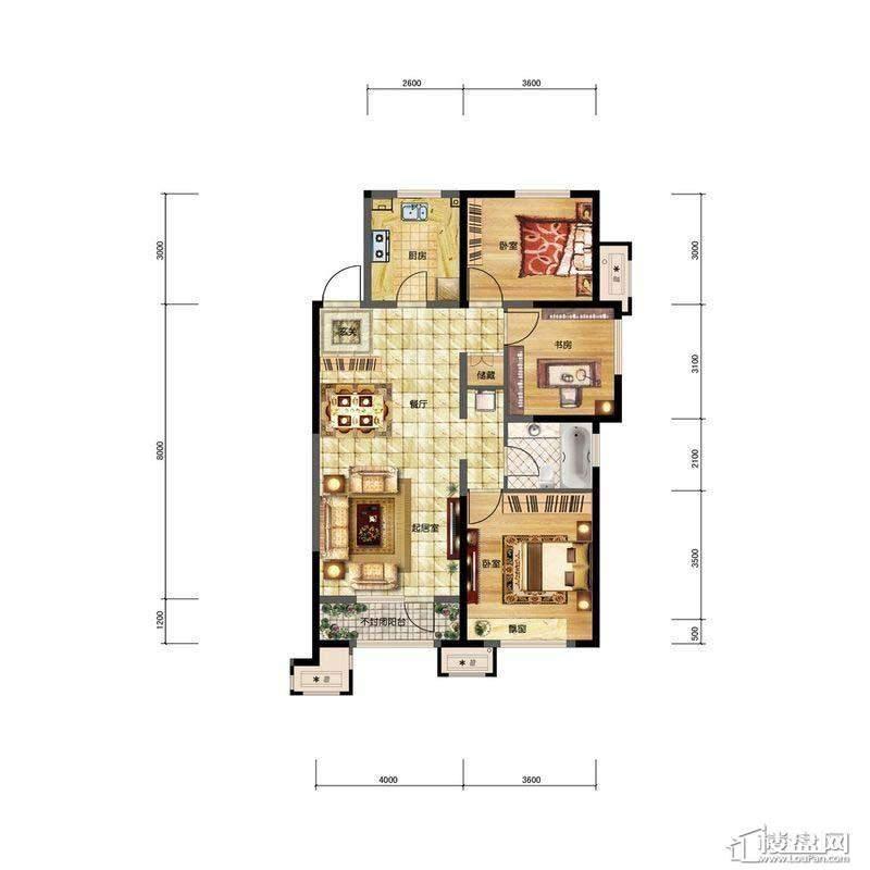 金地檀溪高层1#-C3户型3室2厅1卫1厨