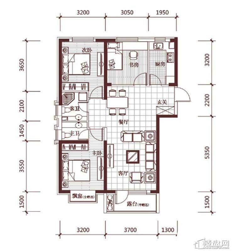 华府丹郡E-33室3厅2卫1厨