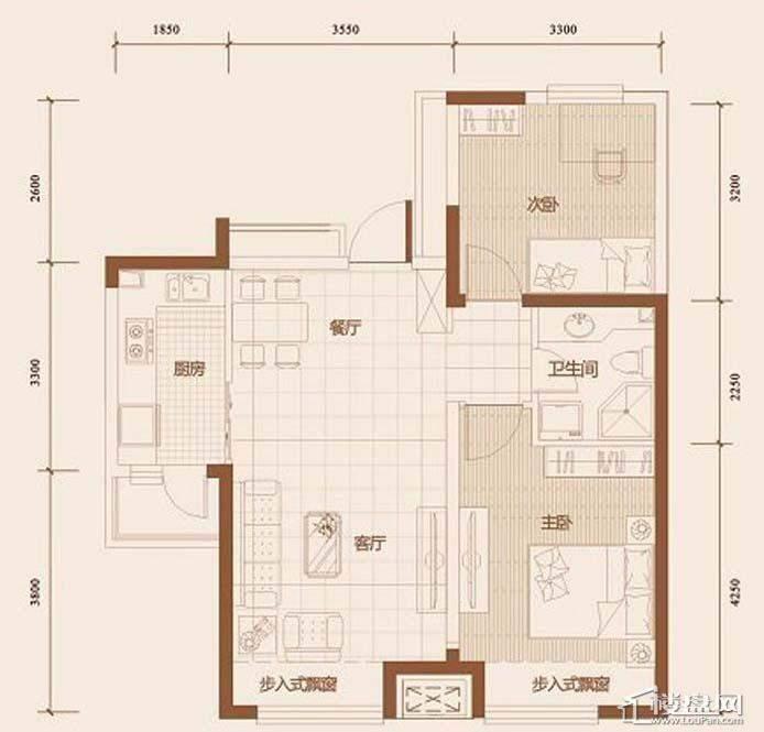 华府丹郡 B1平户型2室2厅1卫1厨