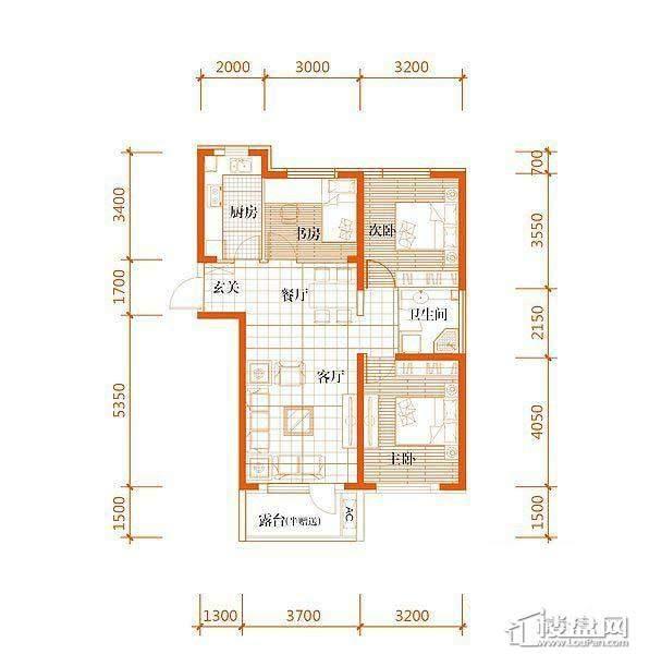 华府丹郡B-1户型3室2厅1卫1厨