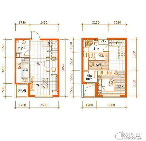 华府丹郡B-3户型2室2厅2卫1厨