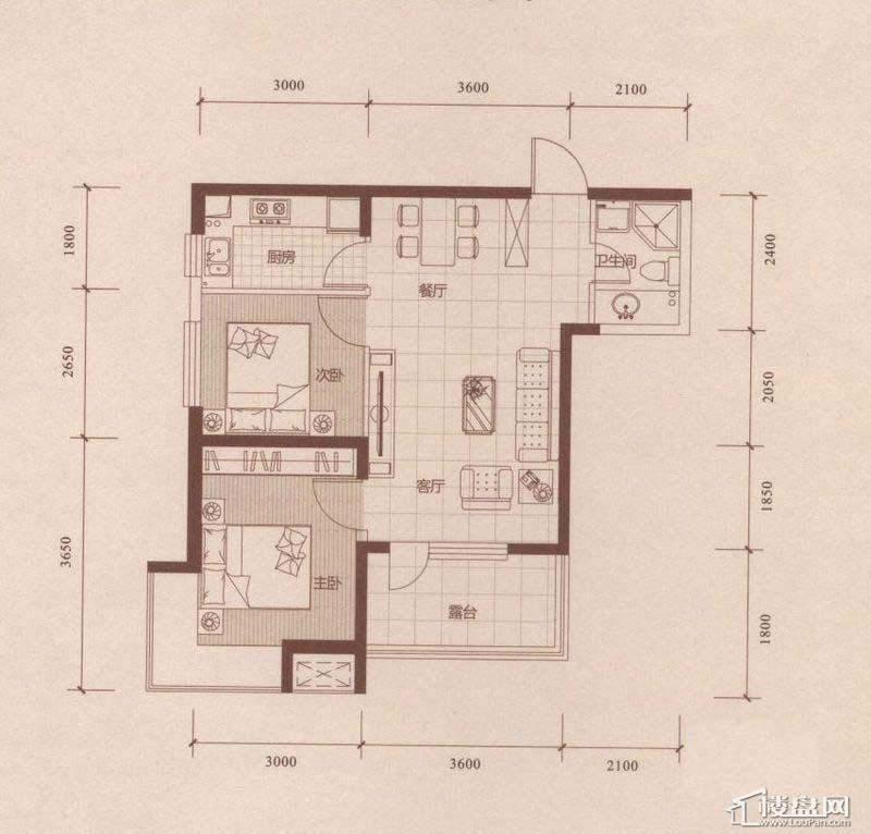 华府丹郡D3户型2室2厅1卫