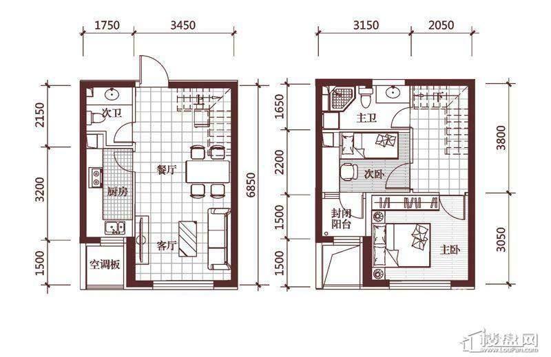 华府丹郡E-12室2厅2卫1厨