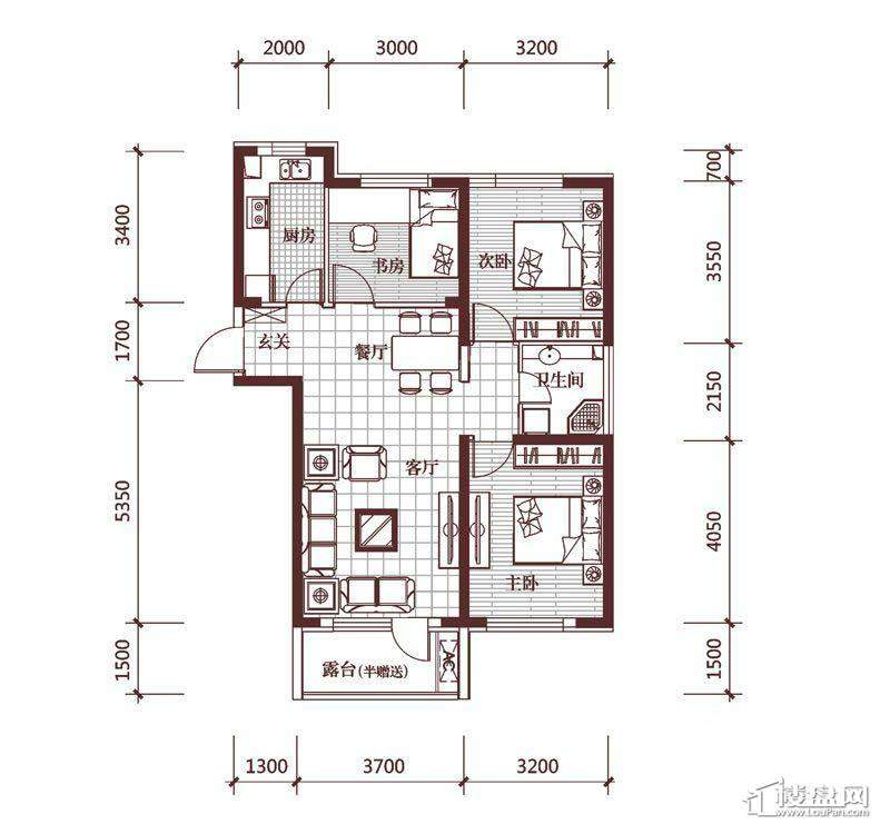 华府丹郡E-23室2厅1卫1厨