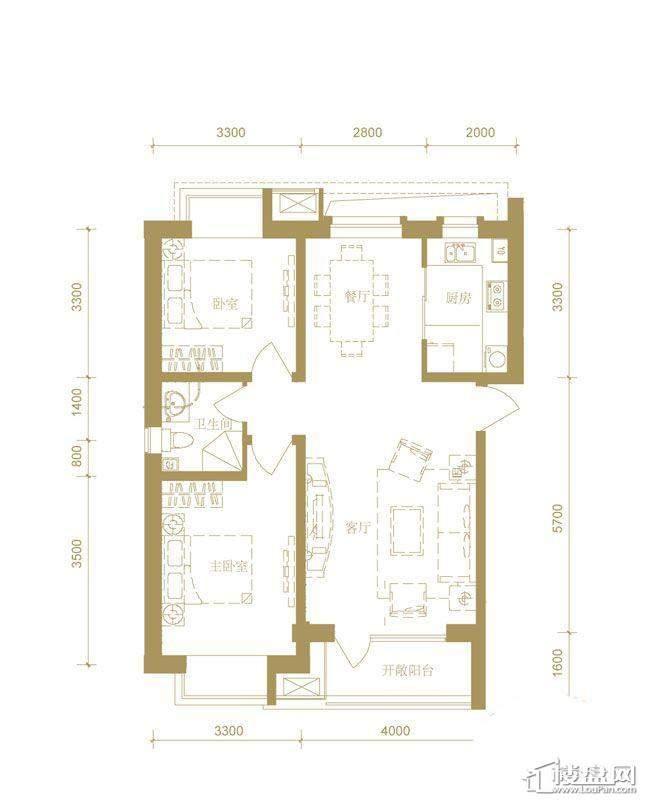 首创国际城3号楼a户型2室2厅1卫1厨