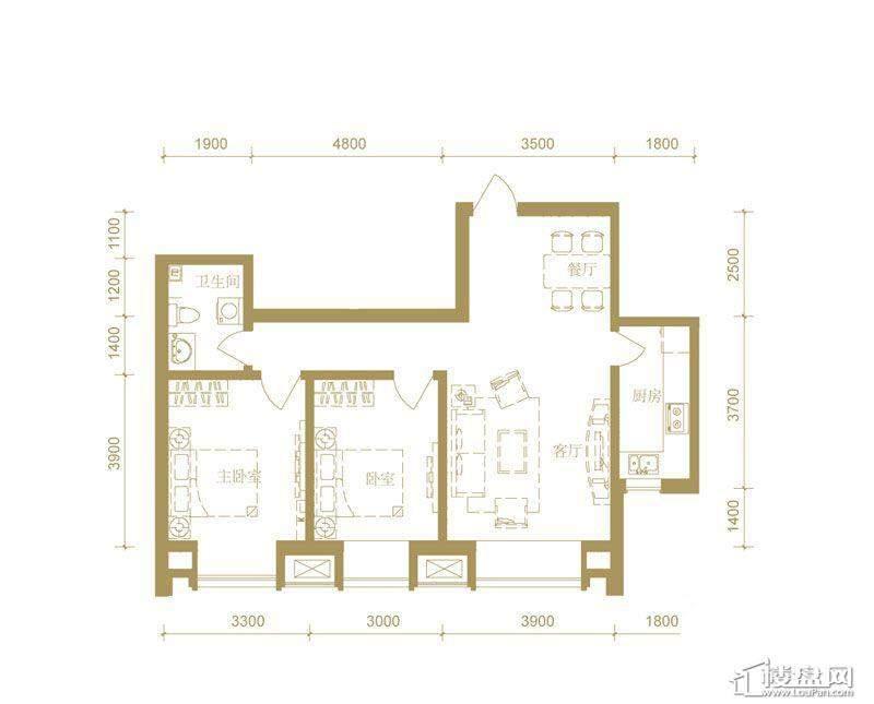 首创国际城3号楼b户型2室2厅1卫1厨