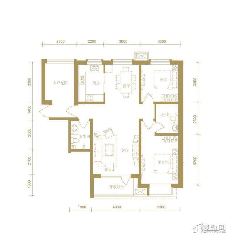 首创国际城3号楼c户型2室2厅2卫1厨