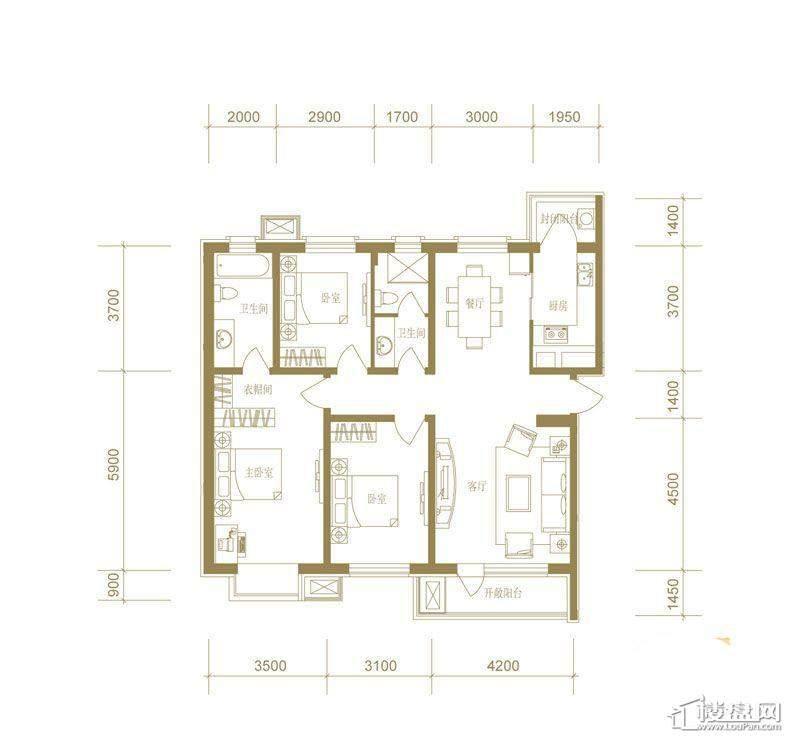 首创国际城7号楼a户型3室2厅2卫1厨