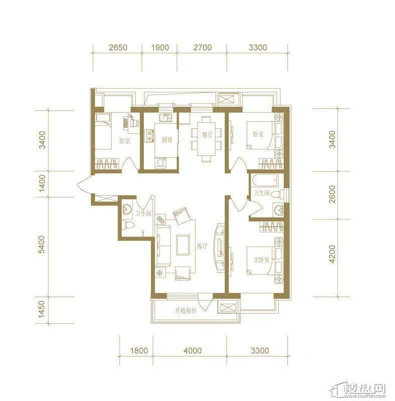 首创国际城7号楼c户型3室2厅2卫1厨