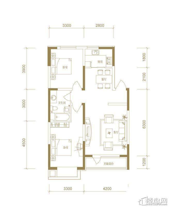 首创国际城二期5.6号楼a户型2室2厅1卫1厨