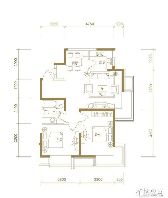 首创国际城二期5.6号楼b户型2室2厅1卫1厨.