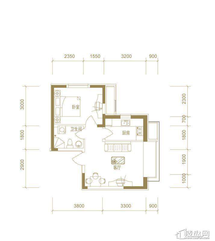 首创国际城二期5.6号楼c户型1室1厅1卫1厨