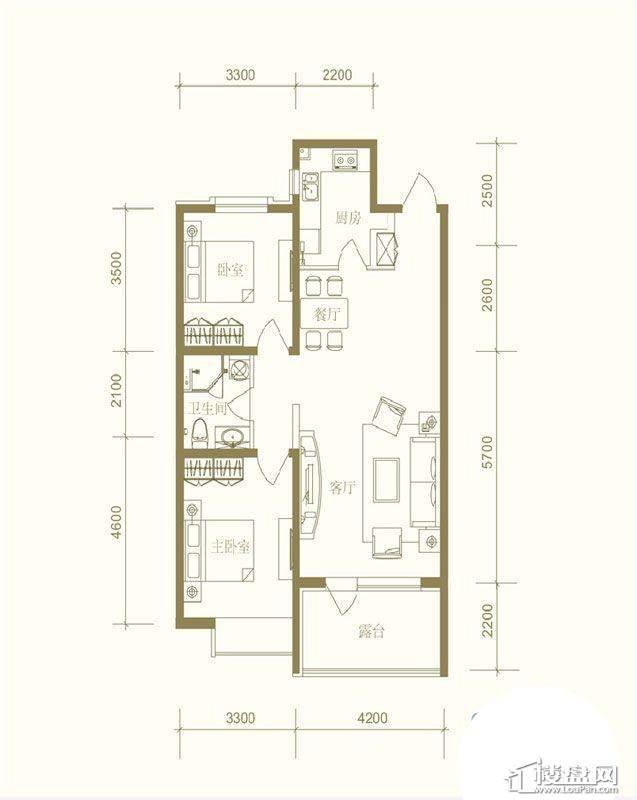 首创国际城户型图2室2厅1卫1厨