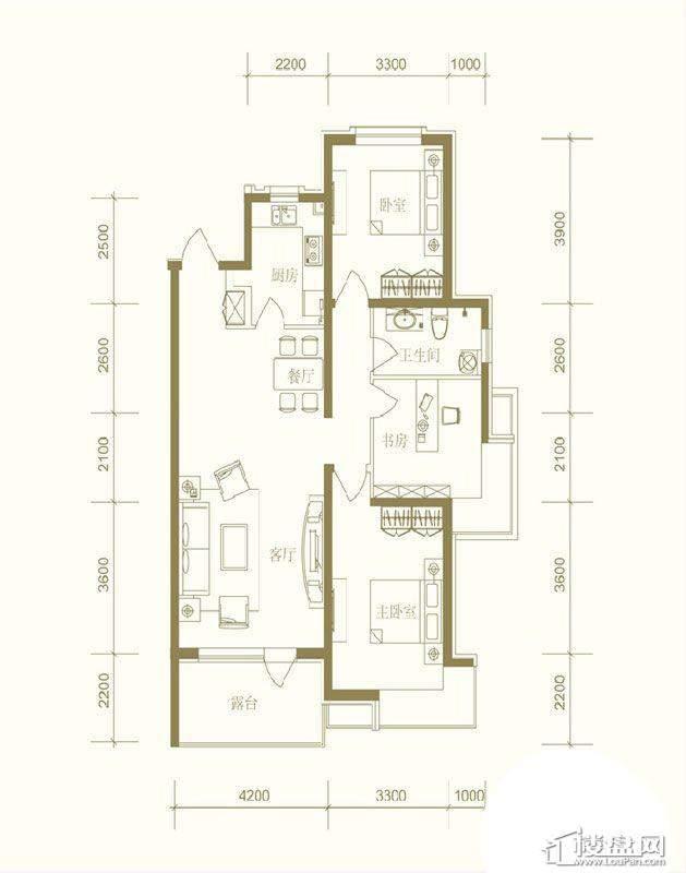 首创国际城户型图3室2厅1卫1厨